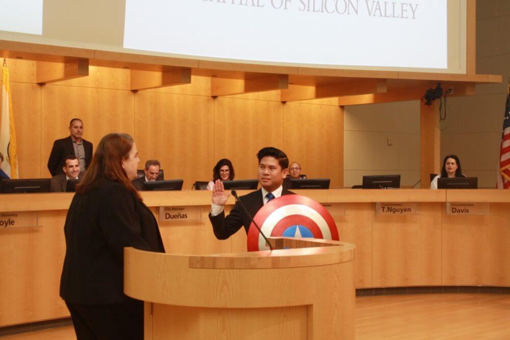 Lan Diep Sworn into San Jose City Coucil Position with Captain America shield. Photo courtesy of Lan Diep.