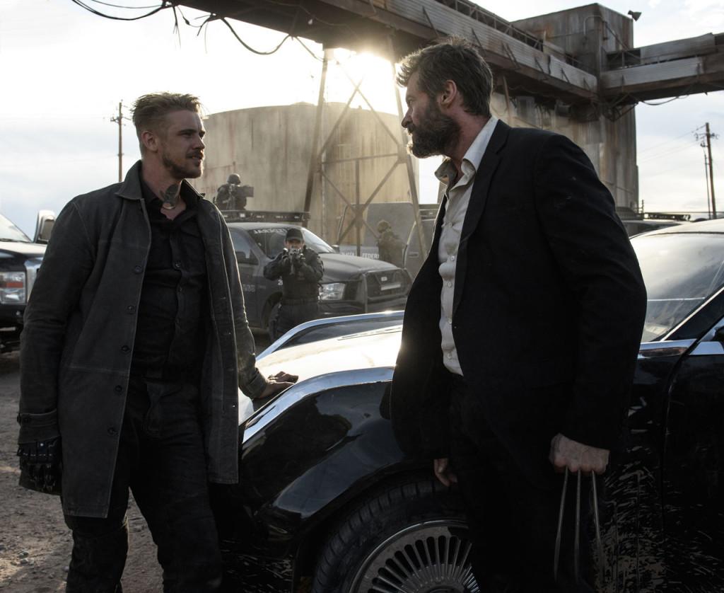 DF-13843_RV2_CROP - Pierce (Boyd Holbrook) and Logan (Hugh Jackman) face off. Photo Credit: Ben Rothstein.